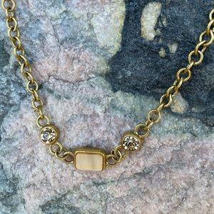 ⚡️Gold link, yellow stone, rhinestone necklace